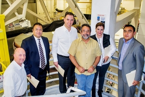 The tour of the Mirror Lab included (from left) Justin Dutram of the UA's Office of Global Initiatives; Consul General Ricardo Pineda Albarrán of the Consulate of Mexico, Tucson; Sen. Alejandro Tello of Mexico; José Franco, director of scientific outreach, Universidad Autónoma Nacional de Mexico; Cristina de la Luz Rodriguez Pacheco, Tello's wife; and Jesús Diaz, technical secretary of the Commission of Science and Technology of the Mexican Senate. (Photo: Hannah Bergeron/UANews)