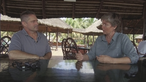 Filmmaker Ray Morgan (left) and the UA's Dr. Leslie Boyer, in Accra, Ghana, discuss plans for the video series.