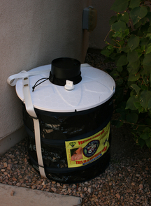 UA researchers placed mosquito traps such as this one on porches and in parks to monitor mosquito activity in Maricopa County. (Photo courtesy of Shujuan Li)