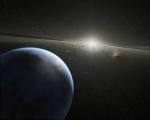 An artist's impression of the asteroid belt, a region between the inner planets and outer planets where thousands of asteroids are found orbiting the sun. (Illustration: NASA/JPL-Caltech/T. Pyle (SSC))