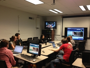 UA students attended class with their Western Michigan University counterparts via video conference. (Photo: Rachel Gallery)