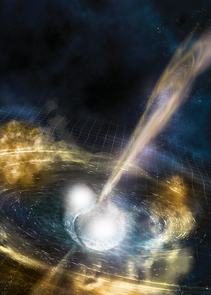 Cataclysmic collision: An artist's illustration of two merging neutron stars. The rippling space-time grid represents gravitational waves that travel out from the collision, while the narrow beams show the bursts of gamma rays that are shot out just seconds after the gravitational waves. Swirling clouds of material ejected from the merging stars also are depicted. The clouds glow with visible and other wavelengths of light. (Credit: NSF/LIGO/Sonoma State University/A. Simonnet)