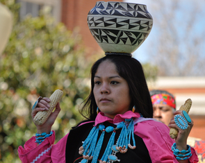 Traditional Native American dance performance at the UA's Southwest Indian Art Fair. (Photo by Patrick McArdle/UANews)