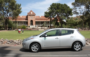 Old Main meets the new green: This Nissan Leaf is the first all-electric vehicle to join a university car-sharing fleet in the U.S. (Photo by Bill Davidson)
