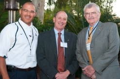 John W. Olsen (center) was honored with the UA Foundation's second annual Eugene G. Sander Endowed Faculty Fundraising Award. (At left: Jim Moore, president of the UA Foundation. At right: Eugene Sander, dean of the College of Agriculture and Life Sciences.)