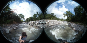 Nazifi experiments with a 360-degree camera at a river near the remote village of Longo Mai, Costa Rica.