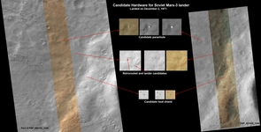 This set of images from the High Resolution Imaging Science Experiment (HiRISE) camera shows what might be hardware from the Soviet Union's 1971 Mars 3 lander, found by an Internet group of Russian citizen enthusiasts. See text for a link to a larger version of this image. (Image: NASA/JPL-Caltech/UA)