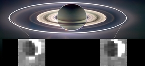This set of images from NASA's Cassini mission shows how the gravitational pull of Saturn affects the amount of spray coming from jets at the active moon Enceladus. Enceladus has the most spray when it is farthest away from Saturn in its orbit (inset image on the left) and the least spray when it is closest to Saturn (inset image on the right). (Image: NASA/JPL)