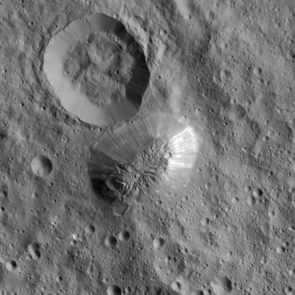 Ceres' mysterious mountain Ahuna Mons is seen in this mosaic of images from NASA's Dawn spacecraft. Dawn took these images from 240 miles (385 kilometers) above the surface, in December 2015. The resolution of the image is 120 feet (35 meters) per pixel. (Image: NASA)
