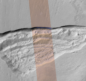 A cross section of underground ice is exposed at the steep slope that appears bright blue in this enhanced-color view from the HiRISE camera on NASA's Mars Reconnaissance Orbiter. The scene is about 550 yards wide. The scarp drops about 140 yards from the level ground in the upper third of the image. (Image: NASA/JPL-Caltech/UA/USGS)