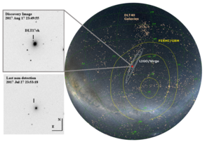 "This discovery image of the neutron star merger shows what appears like ""a star that wasn't there before"" in the outskirts of a galaxy called NGC 4993, located in the constellation Hydra, about 130 million light-years from Earth. The illustration shows the regions where the Fermi space telescope detected the gamma-ray burst, the area pinpointed by the LIGO-Virgo gravity wave detectors and the galaxies monitored routinely by David Sand's DLT40 survey. (Credit: LIGO-Virgo)"