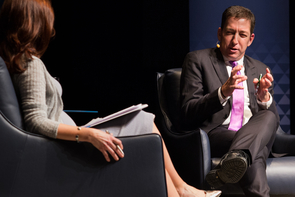 Journalist Glenn Greenwald responds to a question from moderator Nuala O'Connor. (Photo: Ernesto Trejo/UANews)