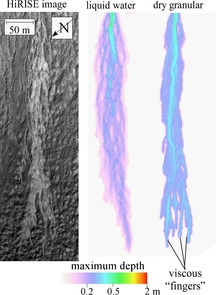 The image on the left is a portion of a HiRISE image showing a bright streak in a gully on the side of a crater in the Centauri Montes region of Mars. The two colored images were generated by the researchers' numerical computer model. The middle image shows how a deposit left by a pure liquid water flood would appear in the gully. The right-hand streak shows the deposit that would be left by a dry debris flow. Only the model for the dry debris flow generated the same fingering as seen in the HiRISE image. (Images by Jon Pelletier, UA)