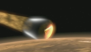 Encased in a protective shell, the Phoenix Mars Lander hurtles toward the Martian surface.
