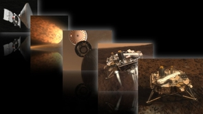This artist's montage shows NASA's Phoenix spacecraft en route to and landing on Mars. (Photo courtesy of NASA/JPL-Calech/University of Arizona)