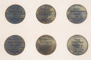 The inscribed bronze medallions display the name, rank and home state of each of the soldiers and Marines who lost their lives on Dec. 7, 1941, aboard the USS Arizona. (Photo: Aengus Anderson)