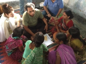 The pilot of an economic development experiment in Bihar, India, with Tauhid Rahman (center) (Photo: Ashutosh Kumar)