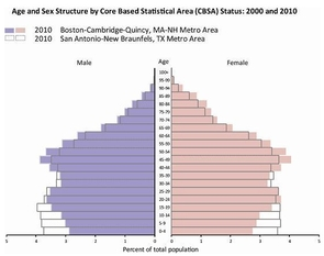 Tools like the population pyramid let users look at population distribution in an area by sex and age.