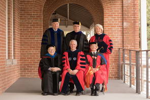 Six UA presidents gathered in November 2017 for the installation of Robert C. Robbins: (back row, from left) John Paul Schaefer (1971-1982), Manuel Trinidad Pacheco (1991-1997) and Ann Weaver Hart (2012-2017); (front row, from left) Henry Koffler (1982-1991), Robbins (2017-present) and Peter Likins (1997-2006). (Photo: John de Dios/UANews)