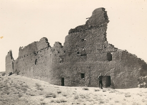 This photo from the 1930s shows the back wall of Pueblo Bonito, the largest structure found in Chaco Canyon, New Mexico. Archaeologists estimate the intact structure was five stories high and had about 500 rooms. UA tree-ring studies of the building's wooden beams revealed the structure was built in phases from 850 to 1120. (Photo: George A. Grant/ National Park Service)