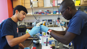 Rajan Vivek (left), of Horizon High School in Scottsdale, studied viral transfer efficiency between human fingers and various surfaces.