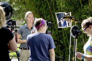 Marissa Heffernan (back to camera) leads an interview with UA alumna Sue Tygielski, general curator for Reid Park Zoo. (Photo courtesy of John de Dios)