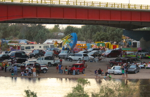 Community members gathered under the Mexican Highway 2 bridge at San Luis Rio Colorado, Sonora, Mexico, to celebrate the return of the water to the Colorado River. (Photo: Osvel Hinojosa, Pronatura Noroes)