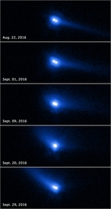 This set of images from the ESA/NASA Hubble Space Telescope reveals two asteroids with cometlike features orbiting each other. The apparent movement of the tail is a projection effect due to the relative alignment among the sun, Earth and 288P changing between observations. (Credit: NASA, ESA and J. Agarwal/Max Planck Institute for Solar System Research)