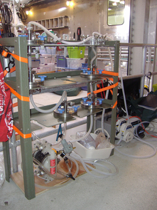"Mobile lab setup inside the ""Western Flyer"" for processing and filtering water collected at sea to capture viruses. (Photo: Li Deng)"