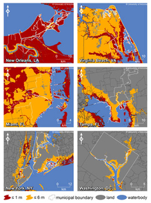 (Click to enlarge) This map shows where increases in sea level could affect New Orleans, Virginia Beach, Va., Miami, Tampa, Fla., New York and Washington, D.C. The colors indicate areas along the coast that are elevations of 1 meter or less (russet) or 6 meters or less (yellow) and have connectivity to
