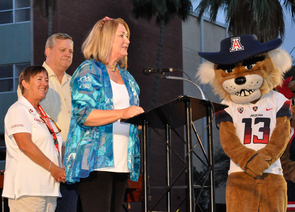 UA President Ann Weaver Hart launched the Arizona Now campaign Friday night along with Sarah Smallhouse and Jeff Stevens, campaign co-chairs. UA mascots Wilber and Wilma also made an appearance during the event. Photo: Patrick McArdle/UANews