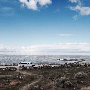 """Robert Smithson's """"Spiral Jetty,"""" located in Utah, is among the sites Magrane and his students visited during a field course. (Photo: Allison Koski)"""
