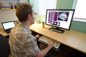 Wilson studies how certain brain regions damaged by a stroke affect language abilities in the early recovery phase. (Photo: Carina Johnson/UANews)