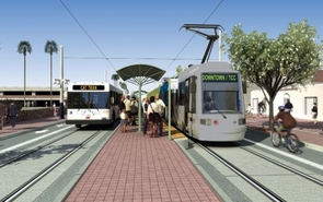 The Tucson Modern Streetcar, set for completion in the fall of 2013, is part of the UA's Comprehensive Plan and its promotion for a sustainable campus. The image is an artist's rendering of the completed project.