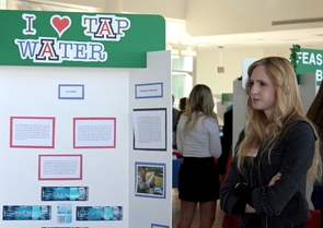 "The ""I Heart Tap Water"" project was named one of this year's winners in the Honors Project Showcase. Kristen McCormack and her colleagues are proposing a campaign that would test tap water around campus while encouraging the community to use water fountains to refill water bottles. (Photos by Beatriz Verdugo / UANews)"