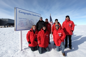 The joint U.S.-Australia team visited the telescope in January, pausing briefly to enjoy the comparatively warm -20 degree Fahrenheit temperatures at the geographic South Pole before flying onward to Ridge A. (Photo: Geoff Sims)