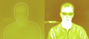 The left-hand image of UA researcher Jared Griebel was taken through an ordinary piece of plastic using an infrared camera. The ordinary plastic does not transmit infrared light. The image of Griebel on the right was taken through a piece of the new sulfur-based plastic with an infrared camera.