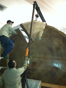 The slab is 10 feet in diameter, 2 feet thick and weighs about 2 tons.