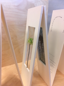"""The Poetry Center's copy of book artist Charles Hobson's rendering of the W.S. Merwin poem """"Trees."""""""