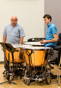 Trevor Cameron Barroero is currently a student of Norman Weinberg (left) and Morris Palter at the Fred Fox School of Music. (Photo: Mindi Acosta)