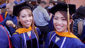 Worldwide, only 1.4 percent of births result in twins. What's even more rare is to see identical twins graduating from the same university with the same doctorate at the same time, as Stephanie and Michelle did this spring. (Photo: Bob Demers/UA News)