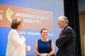 UA President Ann Weaver Hart (left) and Rita Cheng, president of Northern Arizona University, visit with Dr. Robert C. Robbins before Friday's Arizona Board of Regents meeting, (Photo: Jacob Chinn)