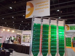 The University of Arizona Innovation Zone at the Global Forum for Innovations in Agriculture featured the Accordion photobioreactor, an innovative algae production system for nutraceuticals, animal feed, biofuels and other high-value products. (Photo by Joel Cuello)