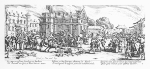 """Les Grandes Misères de la Guerre"" is a series of 18 etchings by French artist Jacques Callot that depict the destruction unleashed on civilians during the Thirty Years' War."