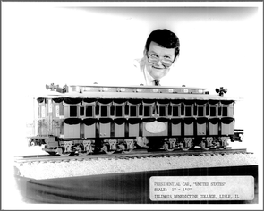 Wayne Wesolowski with his 1/12 miniature car. What color should it be? (Credit: Benedictine University Library