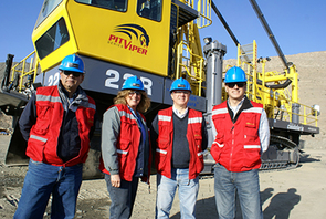 """Vicki Seppala, shown here with co-workers at the Candelaria mine site, counts among her accomplishments the introduction of women haul truck drivers in Chile. """"There is a lot of demand for talent in our industry right now. We are looking for talented people, period,"""" said Seppala."""
