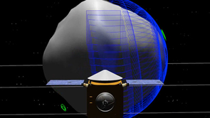 Set for launch in 2016, the OSIRIS-REx spacecraft will orbit asteroid 1999RQ36 for a year, mapping its surface and making detailed measurements. (Illustration: NASA/GSFC/UA)