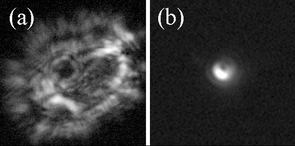 The image to the left is of Betelgeuse, a star, that was viewed through a vortex lens without adaptive optics. The image to the right was taken of Arcturus, also a star, but thorough the use of a vortex lens using adaptive optics.