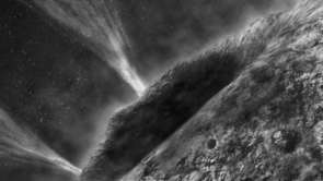 This artist's impression shows the irregular surface of comet Wild-2 and jets spouting into space at speeds of several hundred kilometers per hour. A UA-led team of scientists now found evidence that Wild-2 harbored liquid water at some point in its history. (Image: NASA/JPL-Caltech)