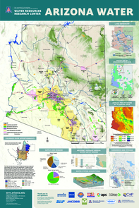 The WRRC's Arizona Water Map Poster offers a reliable and concise visual representation of Arizona's water resources. The map reflects the current state of water resources in Arizona, as well as a culture of management and planning unique to the state. It can be purchased online at https://wrrc.arizona.edu/arizona-water-map-form.